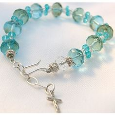 Mary's blue!  Maria Aqua Rosary decade rosary bracelet with Czech Crystal beads, $34.95. #CatholicCompany