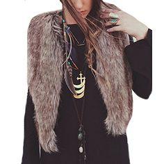 6b1b119333740 Ansenesna Damen Mode Westen ärmelloses Fell Weste Oberbekleidung Lange  Haare Jacke (Braun S)