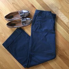 "J Crew Broken-in Chino Relaxed broken in classic twill chino by J Crew. Fit is boxy and material is lightweight. Color is navy. Cuff at bottom. Perfect with flats, sandals, or flip flops! Never worn. Inseam 28"". No trades. No modeling. J. Crew Pants Trousers"