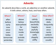 any member of a class of words that function as modifiers of verbs or clauses, and in Teaching English Grammar, English Grammar Worksheets, English Vocabulary Words, Learning English, Comparative And Superlative Adverbs, Adverbial Phrases, Grammar Anchor Charts, Adverbs Worksheet, Adjectives Activities