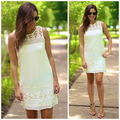 """BUY IT HERE, NOW! White dress with crochet top neck and hemline  Price: $35.00, Free Shipping Options: 1 large Model is wearing small. Made from 75% cotton, 25% polyester. Fully lined in poly. Fits true to size.  small - 36"""" bust, 34"""" long  medium - 38"""" bust, 34.5"""" long  large - 40"""" bust, 35"""" long COMMENT """"SOLD AND YOUR SIZE"""". THEN CLICK THE PICTURE TO REGISTER OR INCLUDE YOUR EMAIL ADDRESS! (YOU ONLY NEED TO REGISTER ONCE!)"""