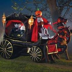 halloween blow ups for the yard halloween headless horseman carriage halloween inflatable - Blow Up Halloween Decorations