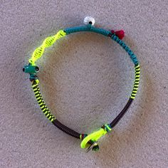 """Winter 2014 Jewelry collection """"Zipper"""" fluo-yellow turquoise grey with silver beads"""