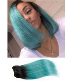 Kiss Hair Fashion 4 Bundles Ombre Brazilian Hair T1B/Green 2 tone Tissage Brazilian Straight Hair Colored Human Hair Extensions