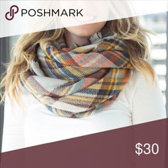 NEW Plaid Blanket Scarf blanket scarf in beautiful fall colors- no tag but new in package Accessories Scarves & Wraps