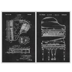 "Piano, Patent Prints, Blueprint Poster - set of 2 Musical Instrument posters. Decorate your home or office and get inspired with Patent Poster Prints! These are awesome posters of inventions that have changed our lives throughout history. These poster prints are easy to frame and hang in your own home or perfect to give as a gift! Paper Size: Approximately 18"" x 24"" or 24"" x 36"" Framing your Poster: You may need to trim the edges if you are framing the poster. Professionally printed on..."