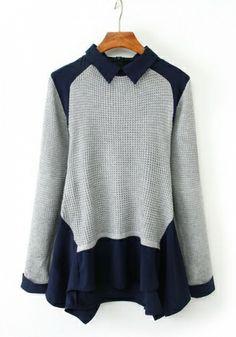 Blending Doll collar Long Sleeve Patchwork Tops