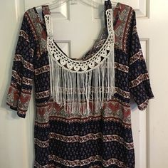 """Lucy Love Blue Paisley Fringe Boho Top Beautiful blouse with open shoulders and fringed neckline. Bust measures 19"""" armpit to armpit, 23"""" armpit to hem, 32"""" shoulder to hem. Lucy Love Tops Blouses"""