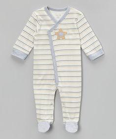 Loving this Gray & Tan Stripe Star Asymmetrical Footie on #zulily! #zulilyfinds
