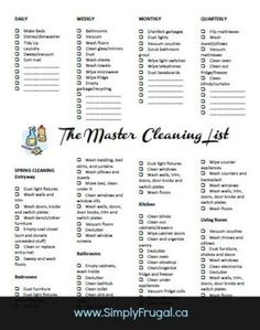 Put this Master Cleaning List to use in your home! Includes daily, weekly, monthly and Spring Cleaning tasks!: Put this Master Cleaning List to use in your home! Includes daily, weekly, monthly and Spring Cleaning tasks! Deep Cleaning Tips, Cleaning Solutions, Cleaning Hacks, Weekly Cleaning, Daily Cleaning Schedules, Diy Hacks, Weekly Chore List, Speed Cleaning, Cleaning Recipes