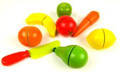 Learn Names of Fruits and Vegetables with Toy Velcro cutting Fruits and ...