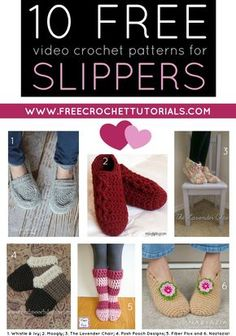 This week's Free Pattern Friday Video Collection includes 10 FREE YouTube Video Crochet Patterns for Slippers. Many of these pretty designs also have written patterns available. They are linked in the post too!