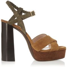 Lanvin Suede platform sandals (957,480 KRW) ❤ liked on Polyvore featuring shoes, sandals, brown, strappy sandals, strappy platform sandals, ankle strap sandals, platform sandals and ankle strap platform sandals