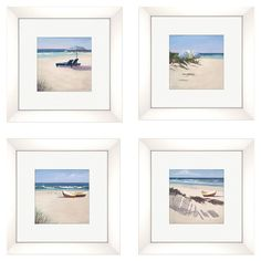 Set of 4 framed prints showcasing tranquil beach settings.   Product: 4-Piece framed print set Features: Ma...