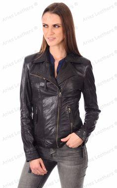 Womens Genuine Lambskin Leather Motorcycle Slim fit Designer Biker Jacket NC150 #AriesLeathers #Motorcycle