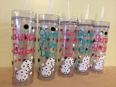 NEW Skinny tumbler: Bunco theme - Personalized with name acrylic tumbler w/ push on lid - Bunco Babe, Sippy Cup, others or Vegas theme