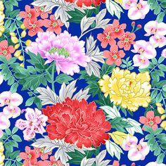 Michiko - Peonies & Blossoms - Cobalt Blue