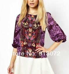 St1491 новинка женская цветочные тотем печать блузка рубашка три четверти рукав свободного покроя тонкий модной топы