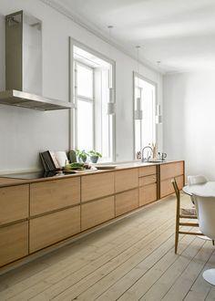 Kitchen Room Design, Home Decor Kitchen, Interior Design Kitchen, New Kitchen, Home Kitchens, Scandinavian Kitchen, Wooden Kitchen, Cuisines Design, Küchen Design