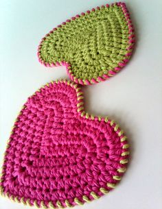 Cotton Crocheted Washcloth Scrubbie - Hearts - Set of 2 - Lime Green and Dark Pink pic only