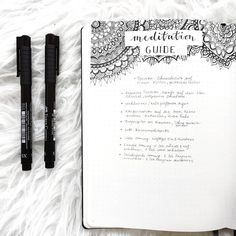 Bullet journal meditation guide, zentangle drawing. | @bulletjournalbymarieke