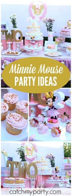 Loving this pink and gold Minnie Mouse birthday party! See more party ideas at Catchmyparty.com!