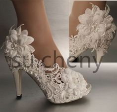 """3 / 4""""  heel pearl white ivory silk lace open toe Wedding shoes size 5-9.5"""