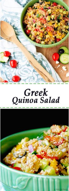 Greek Quinoa Salad - Quick and easy Greek quinoa salad that is great as either a side dish or your main meal.  Plus it can be made ahead, and the leftovers are great for lunch!: