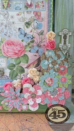 Love how Rhea used the Botanical Tea Cardstock flowers on this altered frame #graphic45