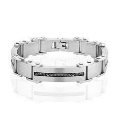 Men's Stainless Steel and Black Diamond Bracelet