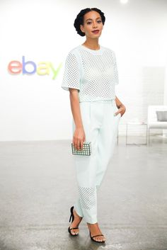 Solange Knowles kicked off the Future of Shopping with eBay in a crisp white ensemble.