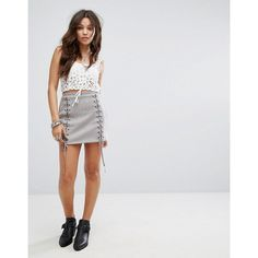 Honey Punch Mini Skirt In Faux Suede With Lace Up Details (€41) ❤ liked on Polyvore featuring skirts, mini skirts, grey, sequin maxi skirt, grey maxi skirt, short maxi skirt, bodycon mini skirt and bodycon maxi skirt