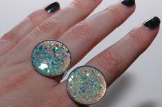 Mermaid Moon Ring Shimmery Glitter Adjustable Rings by Jayne Kitsch Cyber Fairy Kei Harajuku Inspired Style
