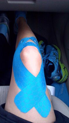 KT Tape Pro for knee support ---> hmm.. I don't remember this particular wrap/tape job, but I may give it a try to eliminate some sweaty hot knee sleeve for a little bit! Perhaps an anchor at the top and bottom with the flex tape to apply a little pressure but not restrict??