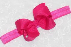 Hot Pink Baby Headband Newborn Bow Headband por SugarSweetBows