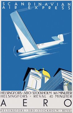 1930's ad from Aero - Scandinavian Air Express Finland. By Jorma Suhonen. The plane looks like a Junkers JU-52