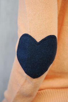 love!!!!!Heart Elbow Patch Sweater - I Wear my Heart on my Sleeve | three bird nest