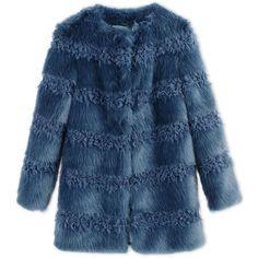 Shrimps Faux Fur (£380) ❤ liked on Polyvore featuring outerwear, coats, slate blue, faux fur coats, long sleeve coat, blue faux fur coat, blue coat and fake fur coats
