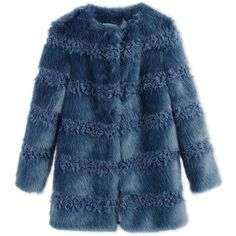 Shrimps Fur (9 465 ZAR) ❤ liked on Polyvore featuring outerwear, coats, jackets, coats & jackets, fur, slate blue, blue fur coat, fur coat, long sleeve coat and blue coat