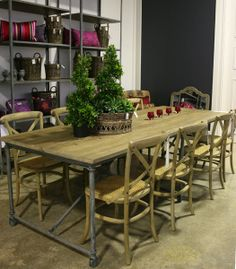 """Louis XV"""" LOFT Reclaimed Timber Industrial Dining Table - Antique Soap $3995"""