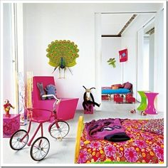 Marie Claire Maison magazine never disappoints - here are some inspiring and colourful children's bedrooms from the Marie Claire Maison we. Kids Bedroom Designs, Kids Room Design, Nursery Design, Teen Girl Bedrooms, Room Interior Design, Kid Spaces, Girl Room, House Colors, Decoration