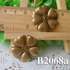 2pcs 26mm brass plated Bronze  filigree bead caps Flower by diyla, $1.80