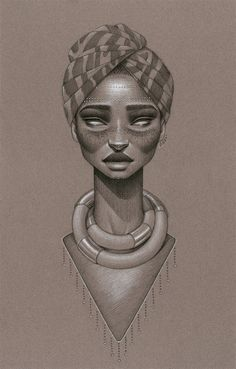 """Calypsoul"" by Sara Golish Charcoal, conté & silver ink on toned paper"