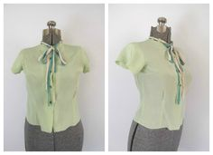Vintage 1960s Button Front Blouse Bow Tie by rileybellavintage, $30.00