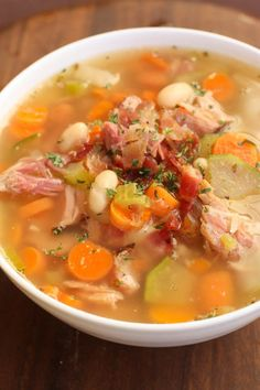 Slow Cooker Leftover Ham Bone Soup is healthy and loaded with vegetables. Perfect for the holidays and this cooler weather!