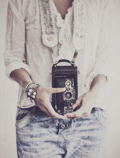 Boho spirit chic with vintage Camera