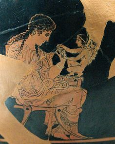 Woman and Eros. Attic red-figured skyphos, ca. 420–410 BC, Shuvalov Painter. Athens.  currently located at the Louvre, France