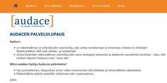 audace.fi-verkkosivujen suunnittelu ja toteutus.