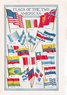 Flags of the Two Americas, colorful old dictionary page from a 1920's era book