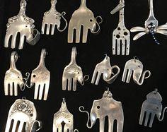 Wunderschönes Vintage Silber vergoldet Gabel-Elefant-Anhänger aus einem geretteten Gabel